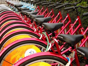 Bicycles in Beijing. Or opportunities to practise, depending on your perspective.